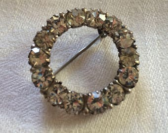 Circle Brooch, Silver and Genuine Paste, Turn of Century