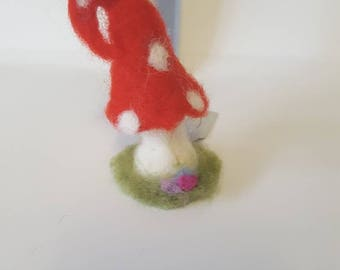 Whimsical needle felted toadstool