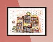 Booklovers, illustratie, giclée print, fantasie, kinderen, kunstprint, a4 poster, aquarel en inkt, kunst, cadeau voor meisje,