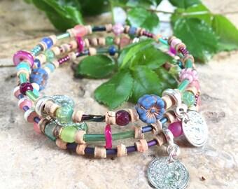3 memory Wire Bracelet turns flashy neon flowers hippie chic