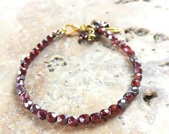 Czech 1 facet Bohemian hippie style round beads bracelet chic namaste shiny gold