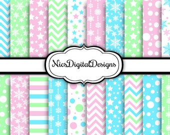 Buy 2 Get 1 Free-20 Digital Papers. Winter Snowflakes in Pink Green Blue (8A no 2) for Personal Use and Small Commercial Use Scrapbooking