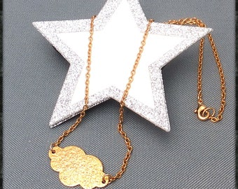 Minimalist cloud on gold plated chain