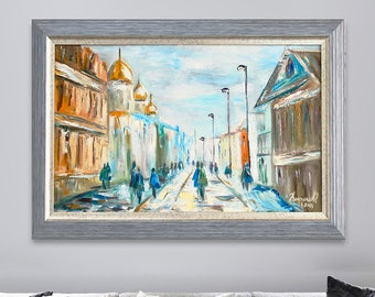 City Oil painting framed art Gift for Her Drawing Landscape canvas big original painting gallery wrapped sale building valentine's day