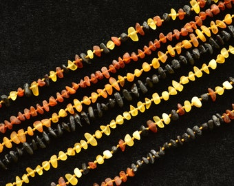Raw Amber Teething necklace for baby baltic genuine natural knotted jewelry beads Unpolished 28-40cm CHOOSE SIZE COLOR Baby gift boy girl