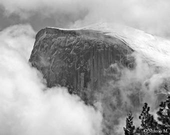Yosemite Photography Half Dome in the Clouds Print Fog Photo Yosemite Valley Image 11x14 Wall Decor Black and White Landscape Photography