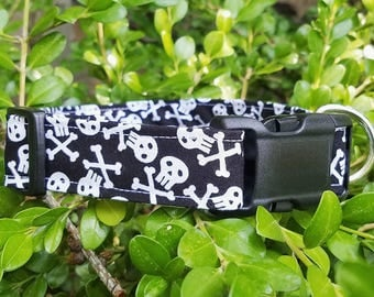 Black and White Skull and Crossbones Dog collar