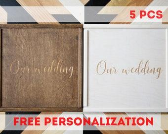 "5 pcs Wedding Memory Wood Photo Box 4""x6"" 5x7 6x8 (10x15 cm 13x18 15x20) Photographer Packaging Personalized, caja de madera, boite en boi"