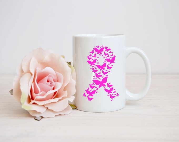 Breast Cancer Awareness Butterfly Ribbon-Vinyl Decal-Iron On-12 oz Coffee Cup-Mug--Canvas-Waterbottle