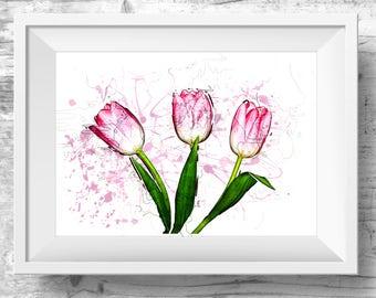 Romantic Bedroom Art, Tulip Wall Art, Digital Print, Decor Above Bed, Simplistic Art, Trendy Wall Art, Tulip Print, Flower Wall Art,