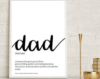 Dad Definition Print Wall Art Prints Quote Print Wall Decor Minimalist Poster Print Modern Art Dad Gift Father Gift Print Daddy Wall Prints