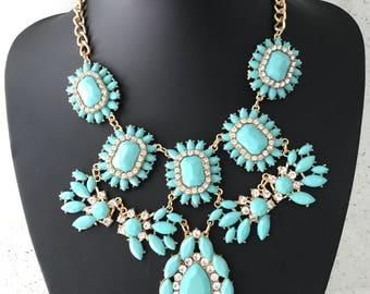 Beautiful large aqua blue statement necklace