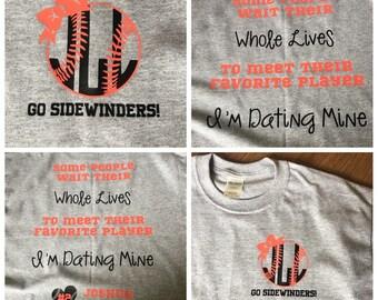 Baseball Girlfriend Shirt - Custom Baseball Shirt - Baseball Bow - baseball name and Number - Favorite Player - Personalize with name