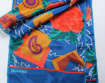 """Christian DIOR Oblong SILK Scarf 11x58"""" Mod Abstract 70s 80s Floral Paisley"""