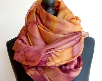 Shawl, scarf, scarf, pareo... 4 in 1. Great copper fluid and light silk scarf. Unique painted, signed, hand hemmed.