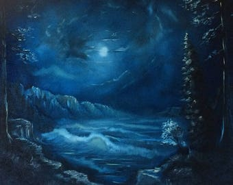 Moon lit ocean - Oil painting - Seacape - black canvas -  by US artist Greg Gilreath