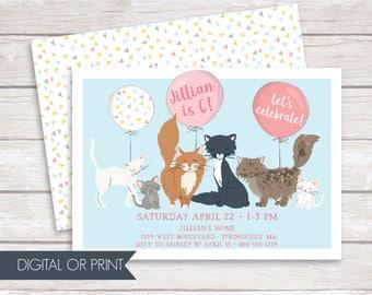 Cat Invitation, Cat Birthday Invitation, Kitten Birthday Invitation, Printed Invitation, Printable Invitation, Paw-ty Invitation