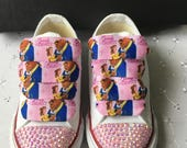 Bling Customised Pink Beauty and the Beast Infants CONVERSE All Star Trainers 310