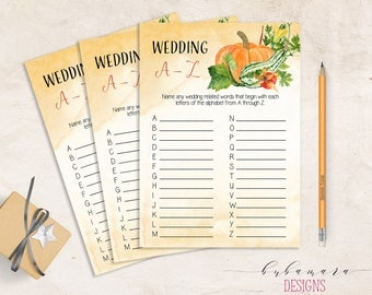 Wedding A to Z Wedding Trivia Fall Pumpkin Bridal Quiz Bridal Shower Orange Foliage Card Printable Game Instant Download - BG006