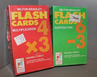 Milton Bradley Subtraction and Multiplication Flash Cards. From 1975 for grades 2-6. Card numbers 4452 and 4454