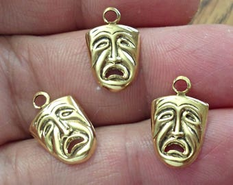 VINTAGE set of 5 Theater Drama Mask  Charm pendant  brass stamping  Made In USA /U18