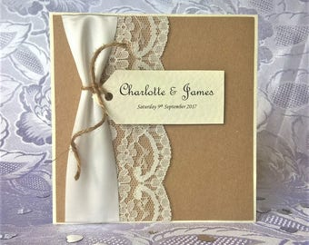 Hand Crafted Personalised 'Amelia Rose' Wedding Invitation Sample Rustic Vintage Lace Twine Ribbon