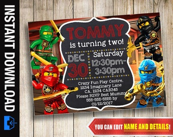 Ninjago Invitation, Instant Download, Printable Invite, Ninjago Birthday, Ninjago Party, Ninjago Editable Invitation, Ninjago Digital Print