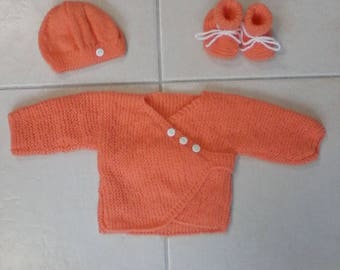 vest set cache orange heart and hat and booties