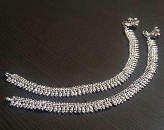 Silver plated anklets | Barefoot anklets jewelry | Wedding wear Indian jewelry | tribal style jewelry anklet | Fusion ankle jewelry | A2003