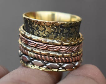 Valentines day gift spinner band ring | Indian gypsy jewelry | Handmade brass rings | Narrow fusion jewelry ring | 5 Spinner rings | R220