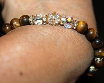 Tiger's eye & Crystal beaded bracelet; handmade, shamballa, beadweaving, beautiful