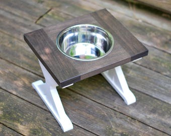 Large - Single Bowl - Dog Bowl Stand - Raised Water Bowl - Elevated Water Dish - Farmhouse Table - Elevated Dog Feeder - Dog Feeder