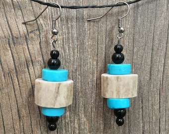 Turquoise and Deer Antler Bead Earrings