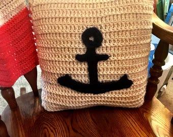Crochet Nautical Pillow, Anchor Pillow