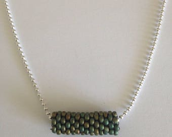 Peyote stitch tube khaki necklace