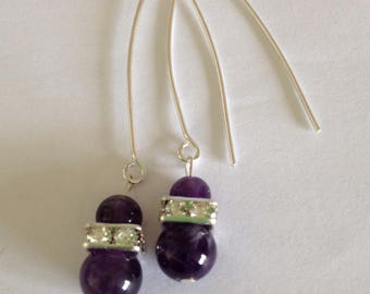Earrings in silver, amethyst and rhinestone