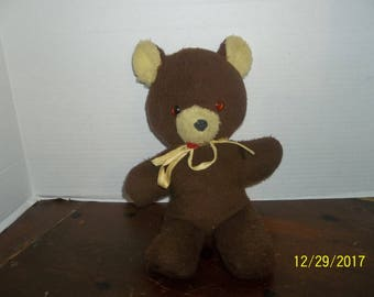 vintage wind up musical brown teddy bear plush plays rock a bye baby