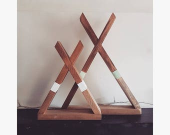 Set of 2 Wooden Tipi Shelves