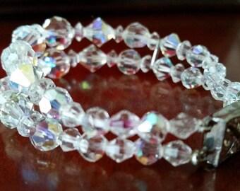 Vintage Aurora Borealis Crystal Beaded Bracelet Lock Clasp c1950