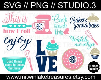 Baking Bundle (10) SVG, Instant & Digital Download, For Silhouette and Cricut, Love, Cupcake, Pie, Roll, DIY, Personal and Commercial Use