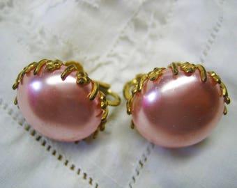 Vintage Miriam Haskell Large Pink Pearl Earrings