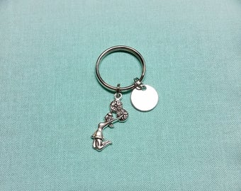 Cheerleader Keychain,  personalized cheer gift,  hand stamped, present for coach