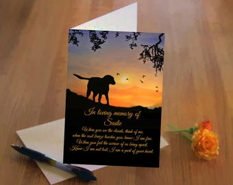Dog Sympathy Card, Loss of Dog,  Memorial Card With Dog's Name, Tribute to Dog Card, Frame-Able Memorial Fine Art Card