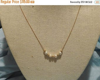 ON SALE stunning vintage 10k yellow gold and pearl necklace 18 inches