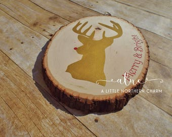 Reindeer Wooden Plaque, Painted Reindeer Wooden Sign, Rustic Reindeer Sign, Christmas Signs, Rustic Holiday Decor, Wooden Holiday Sign
