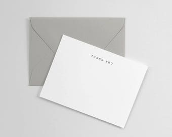 Letterpress Printed Simple Thank You Notecards, Set of 10 Flat Cards