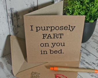 FART, fart on you, fart in bed, toilet humour, potty mouth, toilet jokes, rude card, funny card,