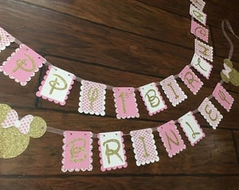 Pink and gold Minnie Mouse polka dot large birthday banner