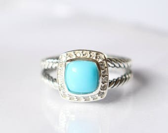 Used David Yurman  Albion Ring with Blue Turquoise and DIAMONDS Size 8
