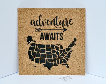 Adventure Awaits - Pinnable Cork Map of the USA - United States Travel Map / Bulletin Board - Includes 50 Round Pins!